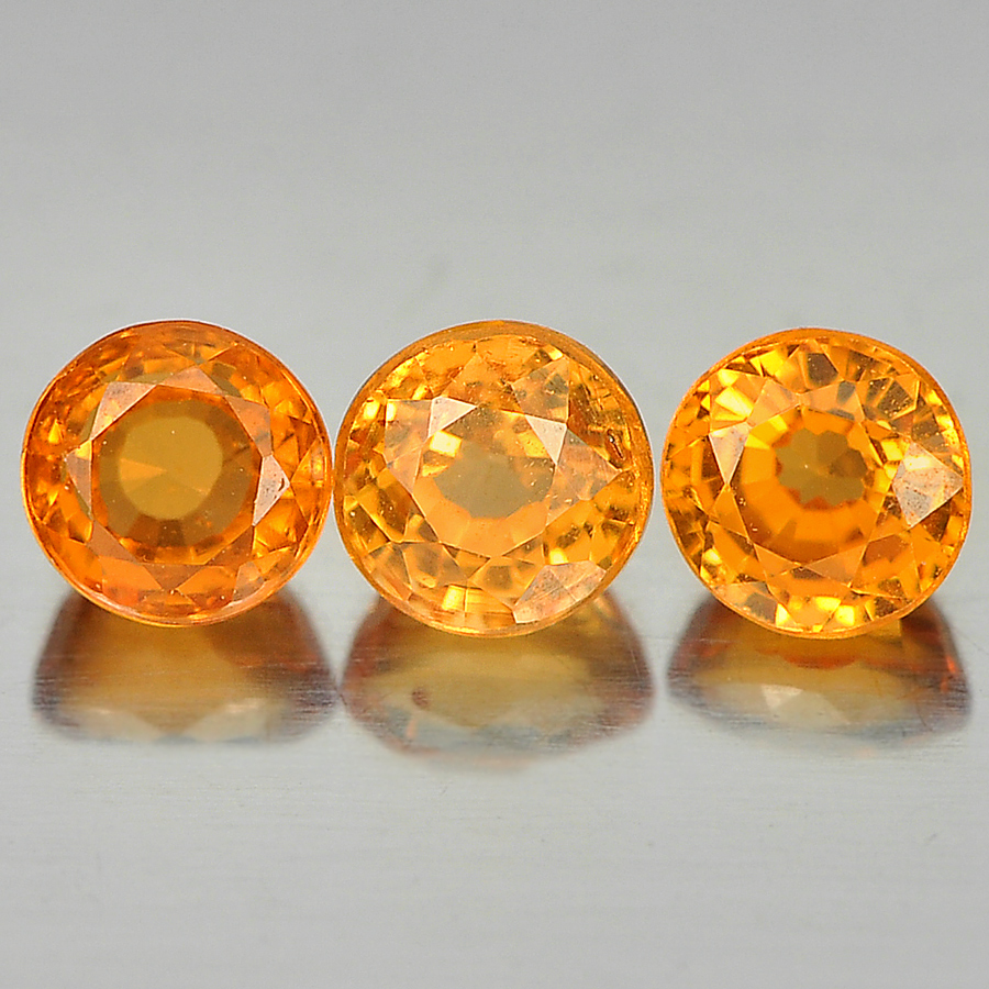 0.92 Ct. 3 Pcs. Round Shape Natural Gems Orange Spessartine Garnet Unheated
