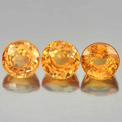 1.28 Ct. 3 Pcs. Round Shape Natural Gems Orange Spessartine Garnet Unheated