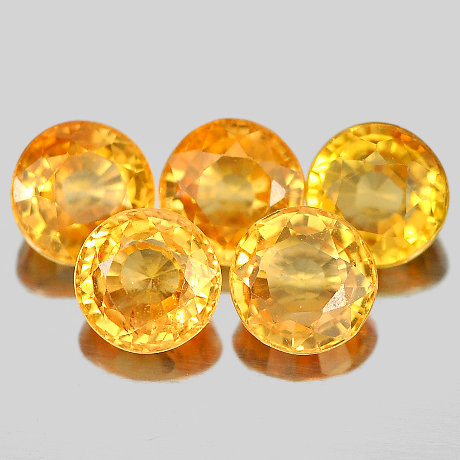 1.47 Ct. 5 Pcs. Nice Round Shape Natural Gems Orange Spessartine Garnet Namibia