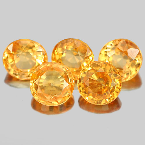 1.49 Ct. 5 Pcs. Round Shape Gemstones Natural Orange Spessartine Garnet Unheated