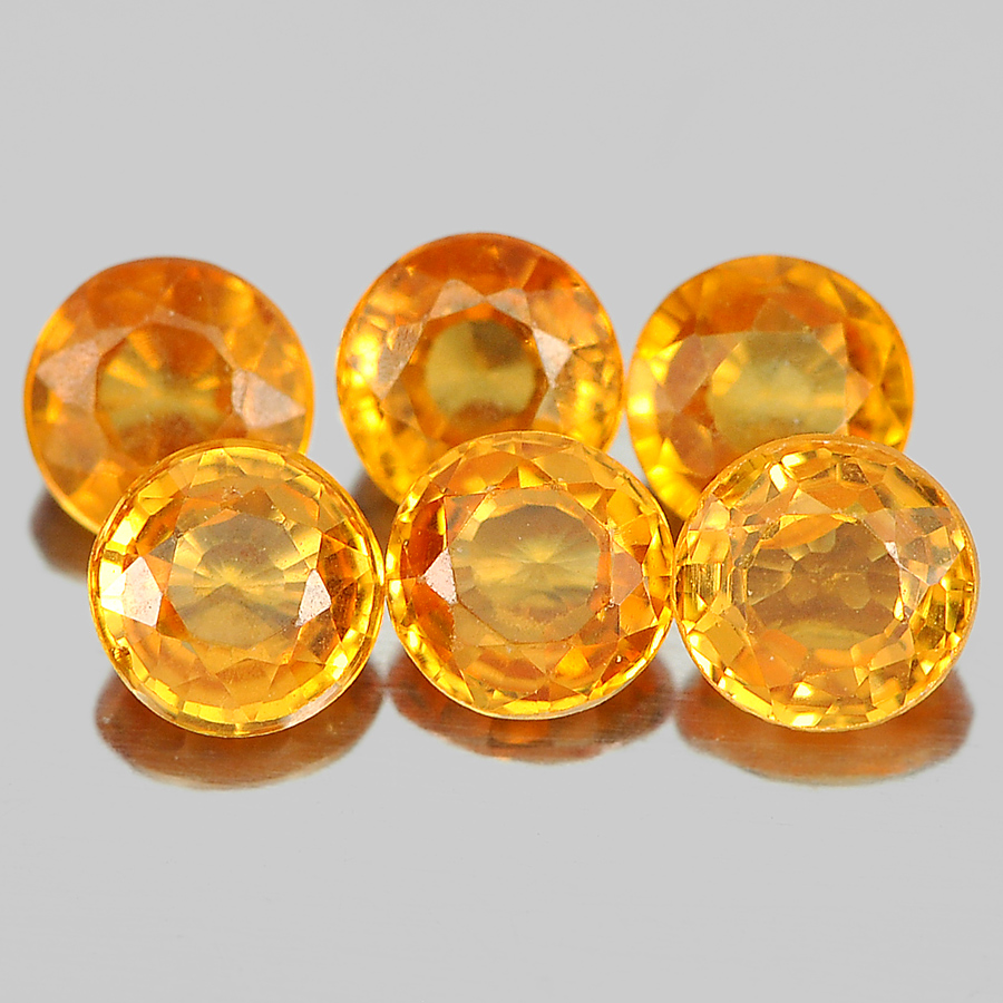 1.53 Ct. 6 Pcs. Round Shape Gemstones Natural Orange Spessartine Garnet Unheated