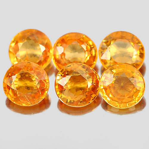 1.37 Ct. 6 Pcs. Round 3.4 mm. Natural Gems Orange Spessartine Garnet Unheated