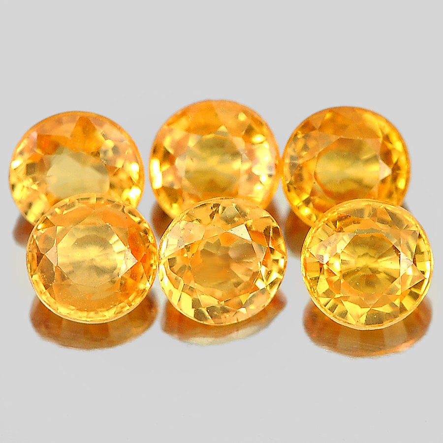 1.37 Ct. 6 Pcs. Round Shape Gemstones Natural Orange Spessartine Garnet Unheated