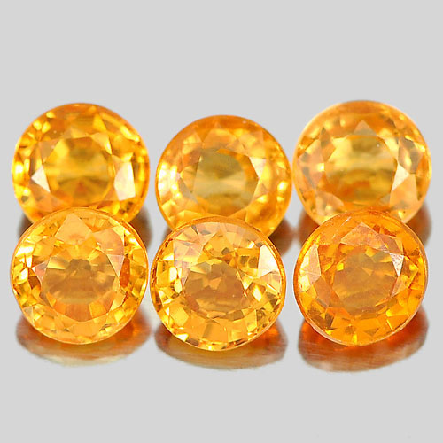 1.42 Ct. 6 Pcs. Round 3.4 mm. Good Natural Orange Spessartine Garnet Unheated