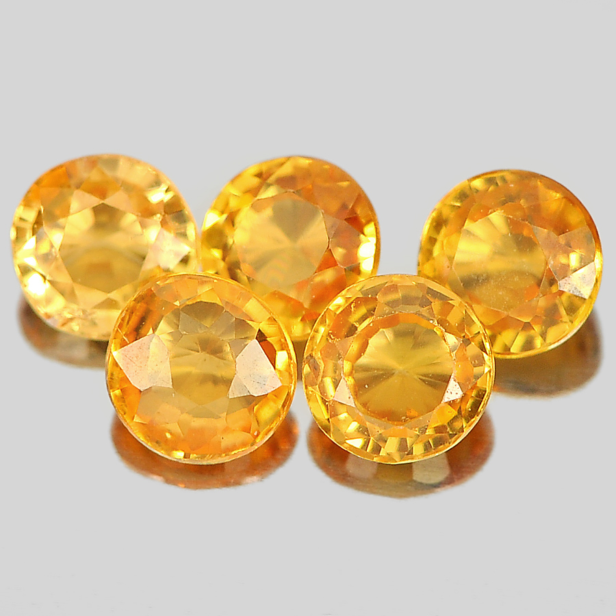 0.76 Ct. 5 Pcs. Round Shape Natural Gems Orange Spessartine Garnet Unheated
