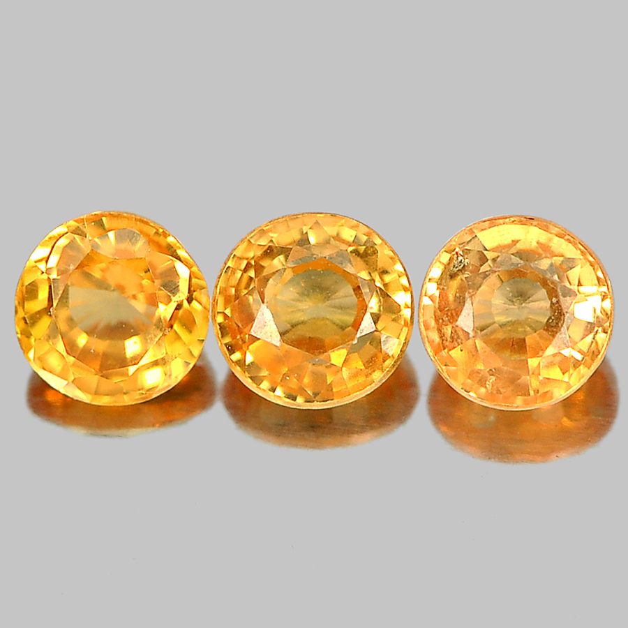 0.68 Ct. 3 Pcs. Nice Round Shape Gems Natural Orange Spessartine Garnet Unheated