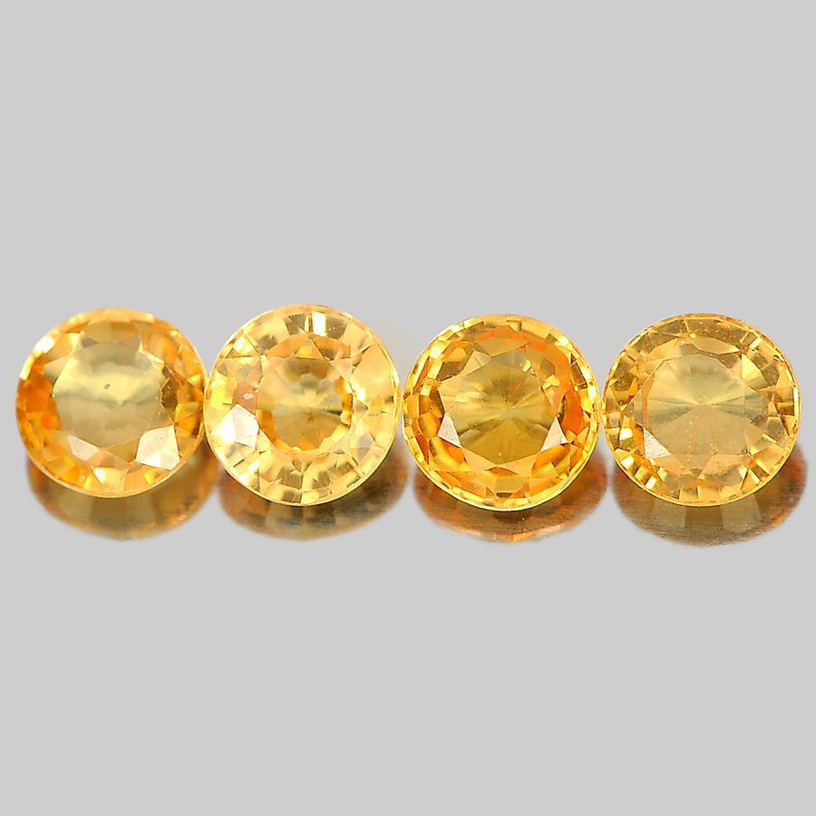 0.70 Ct. 4 Pcs. Nice Round Shape Gems Natural Orange Spessartine Garnet Namibia