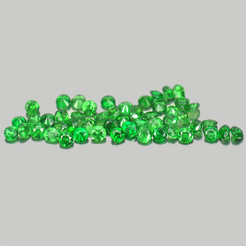 1.18 Ct. 50 Pcs. Round Diamond Cut Natural Gemstones Green Tsavorite Garnet