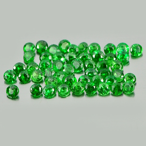1.20 Ct. 50 Pcs. Natural Gems Round Diamond Cut 1.7 Mm Green Tsavorite Garnet