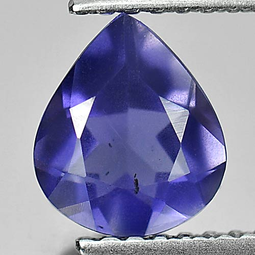 0.88 Ct. Pear Natural Gemstone Violet Blue Iolite From Madagascar