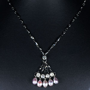 8.53 G. Striking Natural Pearl Nickel Necklace Unheated
