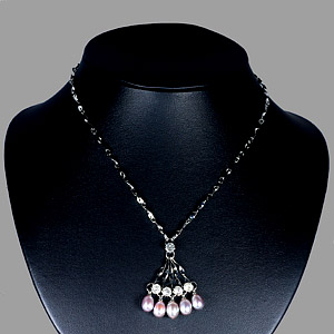 8.85 G. Pretty Natural Pearl Nickel Necklace Unheated
