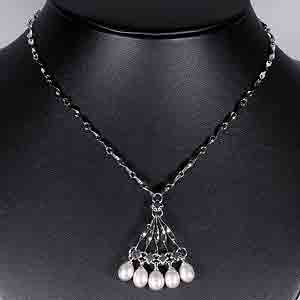 7.99 G. Natural White Pearl Nickel Necklace Unheated