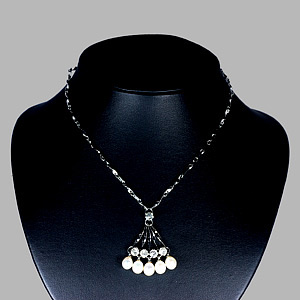 8.43 G.  Natural White Pearl Nickel Necklace Unheated