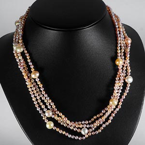 242.00 Ct. Pretty Natural Orange Pearl Strands 78 Inch