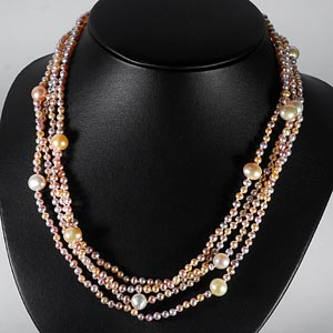 239.25 Ct. Natural Orange Pearl Strands 78 Inch Unheated