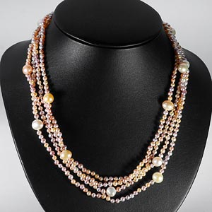 237.60 Ct. Charming Natural Orange Pearl Strands 78 Inch