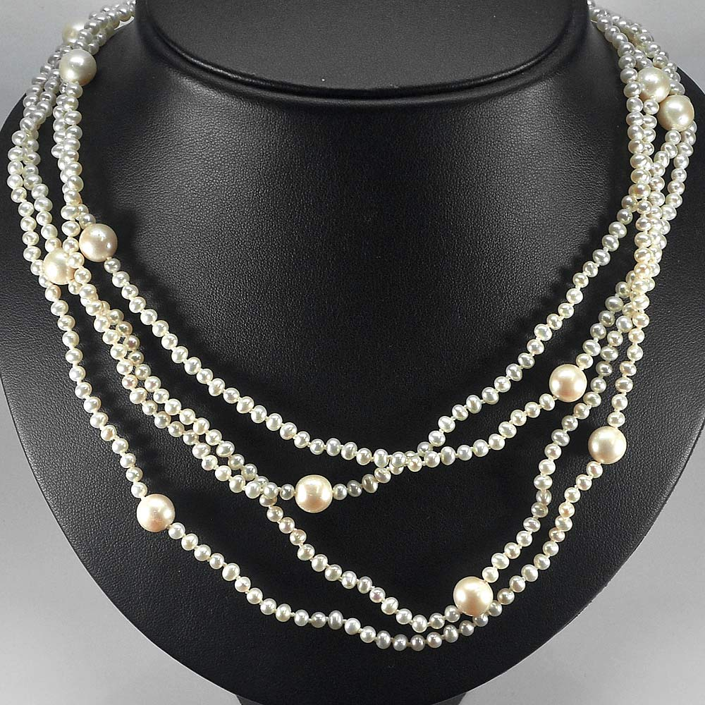 238.20 Ct. Round Cabochon Natural White Pearl Beads Strand Length 76 Inch