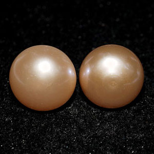 10.50 Ct. Nice Natural Orange Pink Pearl Silver Earring