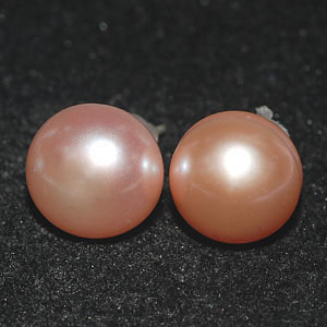 10.25 Ct. Nice Natural Orange Pearl Silver Earring