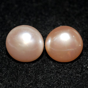 10.59 Ct. Nice Natural Orange Pearl Silver Earring