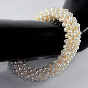 173.15 Ct. Charming Natural White Pearl Bracelets Unheated