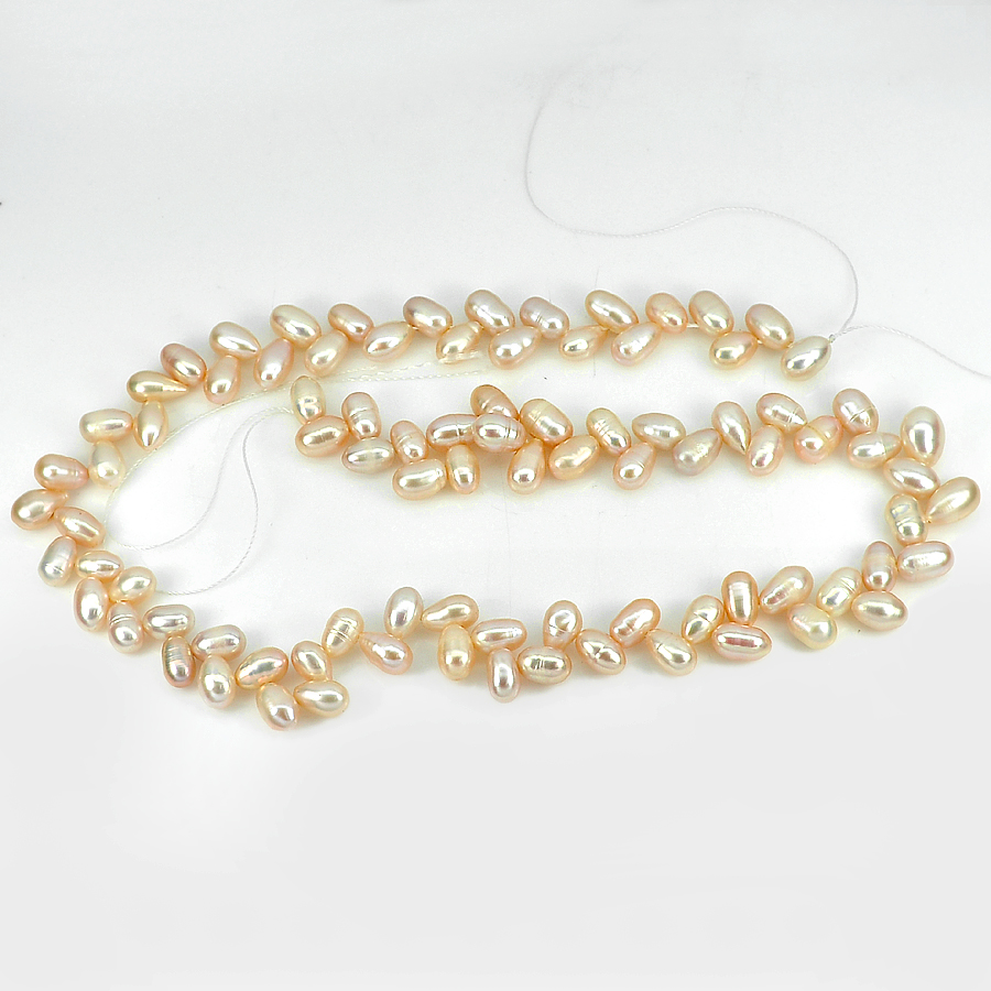 156.58 Ct. Good Natural Orange Pink Pearl Beads Strand Length 16 Inch.