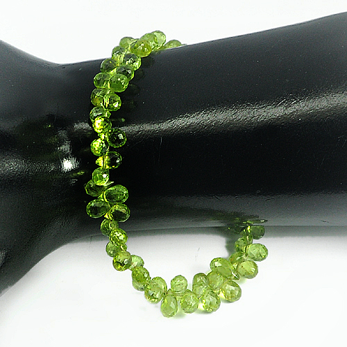 Unheated 71.90 Ct.Natural Green Peridot Beads 9 Inch 6.3 x 4 Mm. Briolette Shape