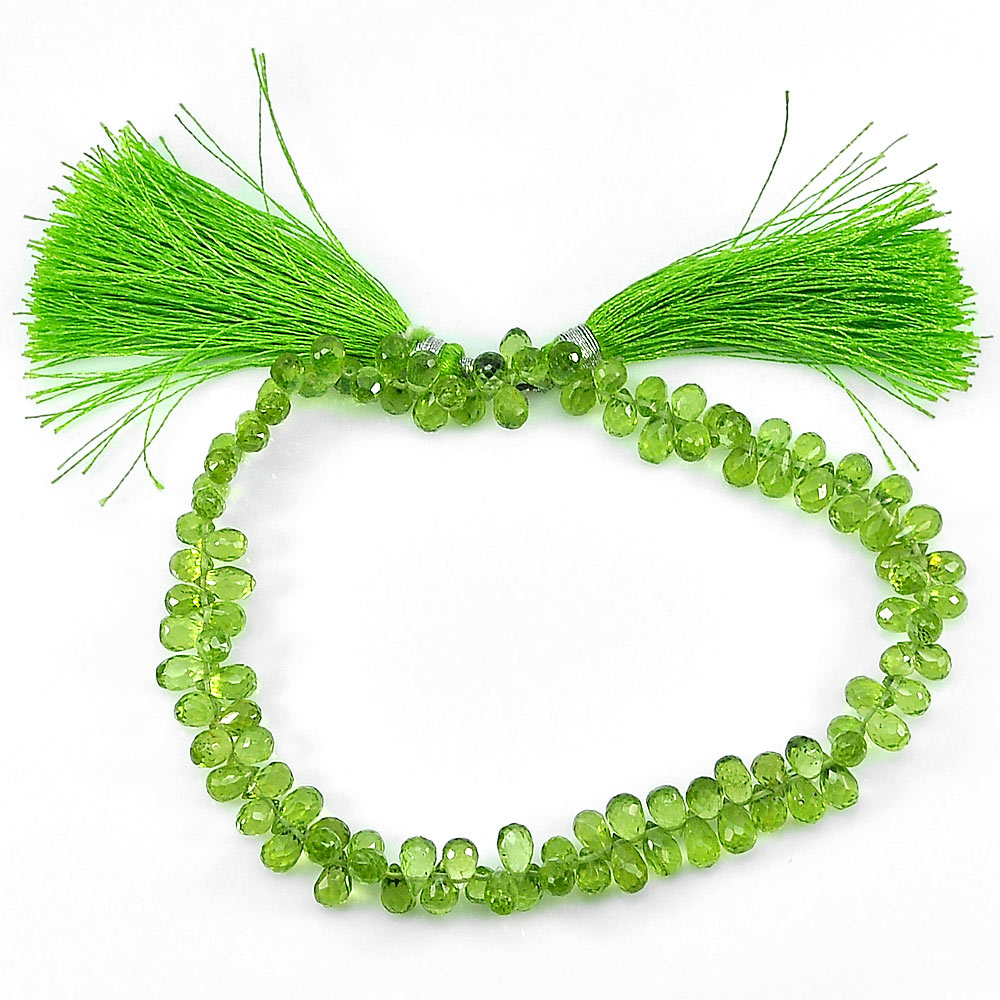 Unheated 81.00 Ct. Natural Gemstones Green Peridot Beads Length 9 Inch.