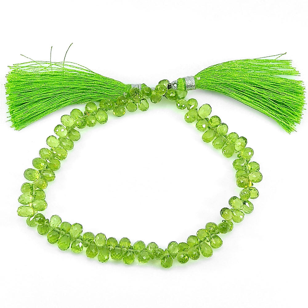 88.30 Ct. Natural Gemstones Green Peridot Beads 9 Inch Briolette 6.8 x 4.4 Mm.