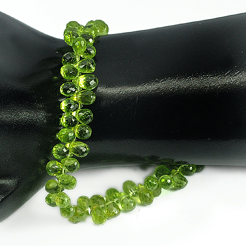 90.05 Ct. 6.9 x 4.5 Mm. Briolette Shape Natural Gems Green Peridot Beads 9 Inch