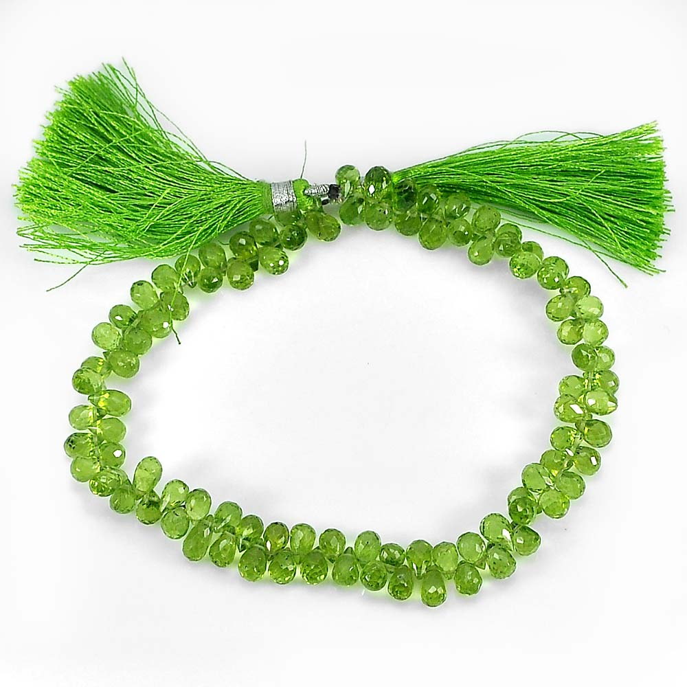 95.40 Ct.Natural Gemstone Green Peridot Beads Length 9 Inch. Briolette 6 x 4 Mm.