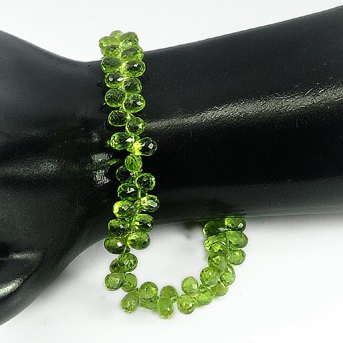 79.75 Ct. 6.6 x 3.8 Mm. Briolette Shape Natural Gems Green Peridot Beads 9 Inch