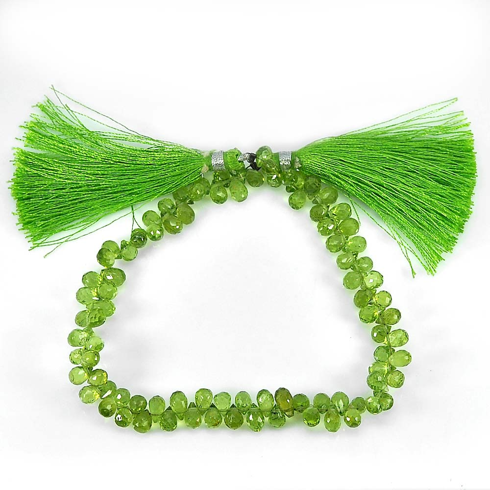 Unheated 84.10 Ct. Natural Gemstones Green Peridot Beads Length 9 Inch.