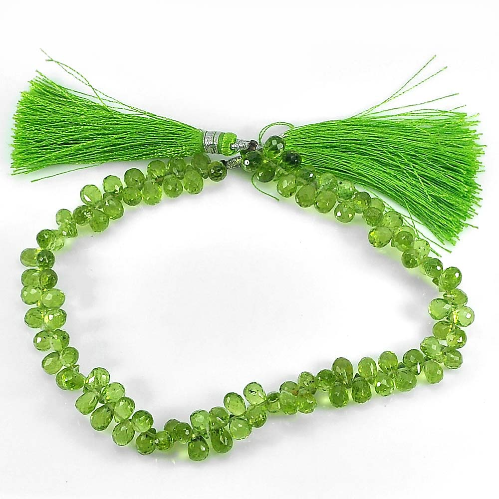 94.20 Ct. Briolette 6.3 x 4.2 Mm. Natural Gemstones Green Peridot Beads 9 Inch.