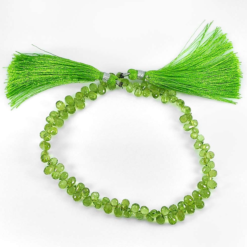 Unheated 64.40 Ct.Briolette Natural Gemstones Green Peridot Beads Length 9 Inch.
