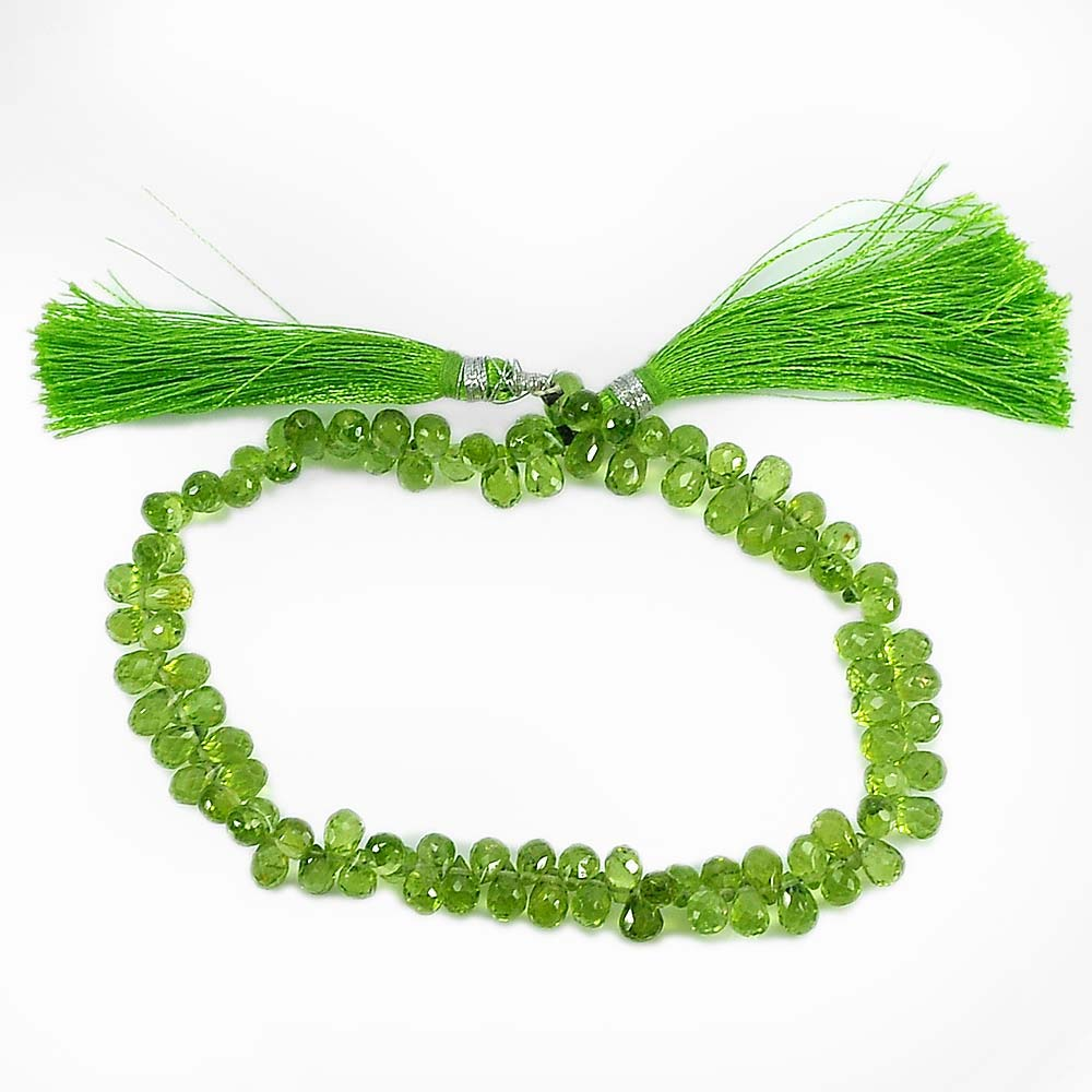 93.40 Ct. Briolette 6.6 x 4.2 Mm.Natural Gemstones Green Peridot Beads 9 Inch.
