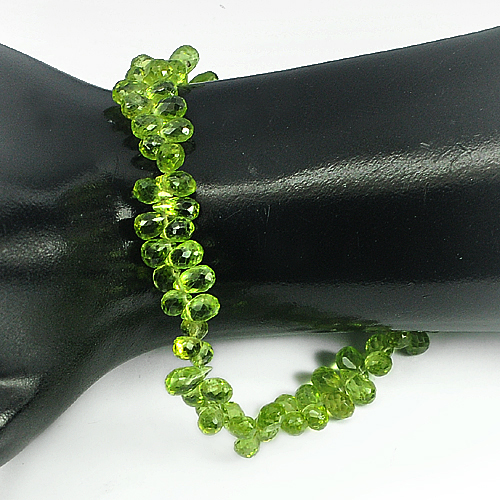 Unheated 80.05 Ct. Natural Gem Green Peridot Beads Length 9 Inch Briolette Shape