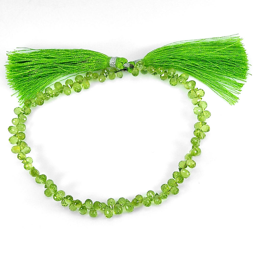Unheated Gemstones 55.90 Ct.Briolette Natural Green Peridot Beads Length 9 Inch.