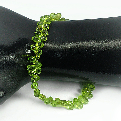 Unheated 69.85 Ct. Briolette Natural Gemstones Green Peridot Beads Length 9 Inch