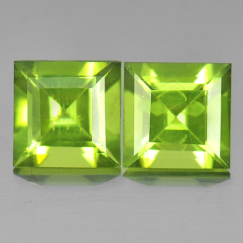 2.18 Ct. 2 Pcs. Square Natural Gems Green Peridot Unheated