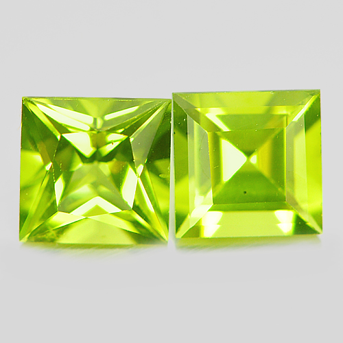 Unheated 2.24 Ct. 2 Pcs. Natural Gems Green Peridot Square Shape