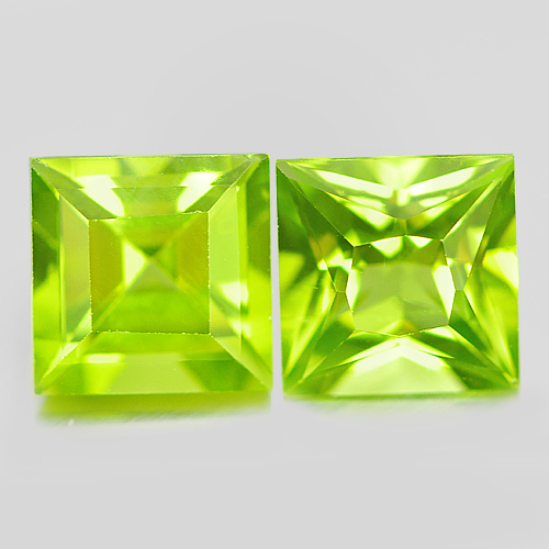 Natural Gems 2.45 Ct. 2 Pcs. Square Shape Green Peridot Unheated