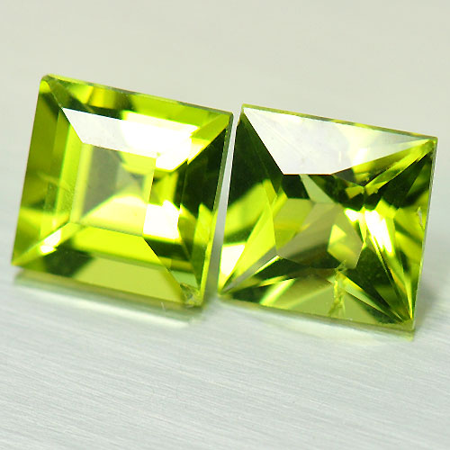2.33 Ct. 2 Pcs. Delightful Gems Square Natural Green Peridot Unheated