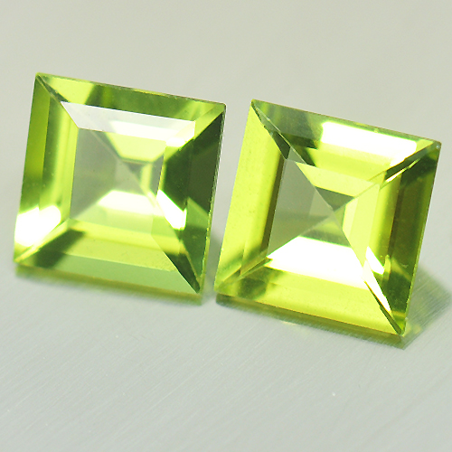 2.02 Ct. 2 Pcs. Charming Square Natural Gems Green Peridot Unheated