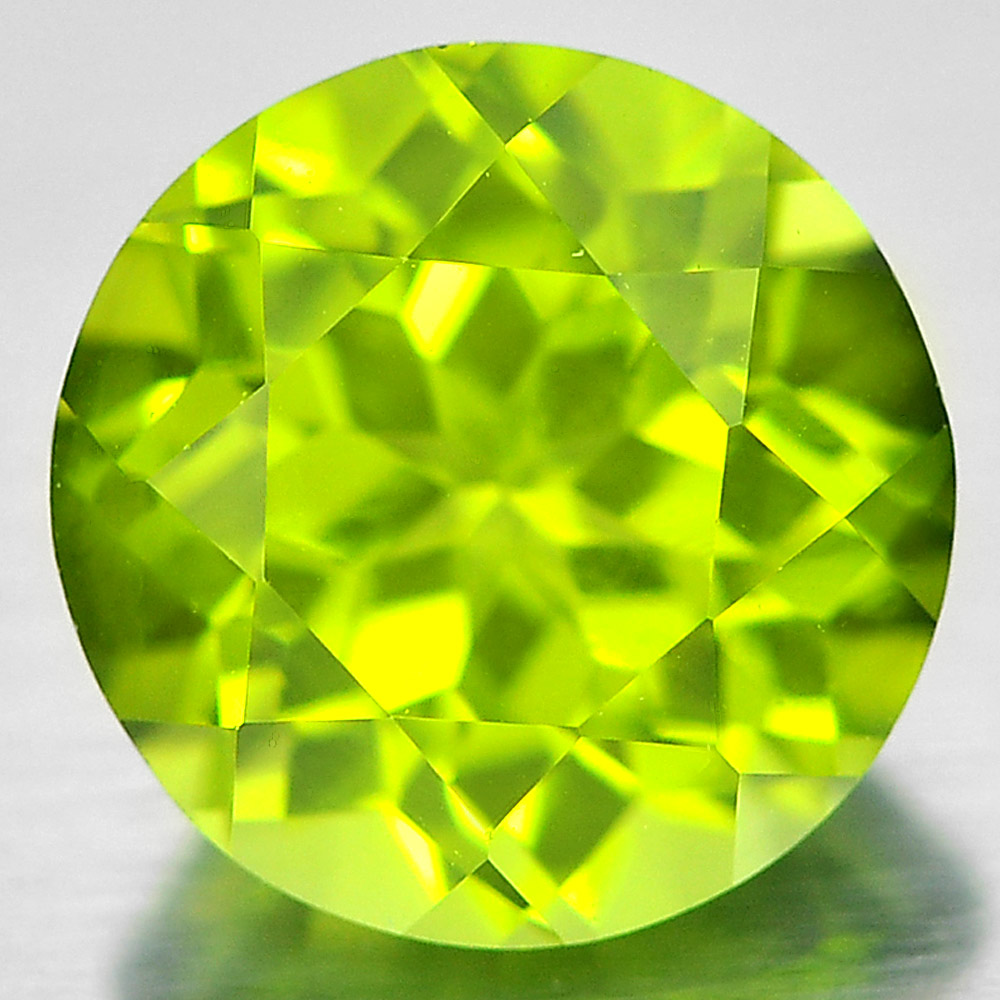 1.44 Ct. 7 Mm. Round Shape Gem Natural Green Peridot From Pakistan Unheated