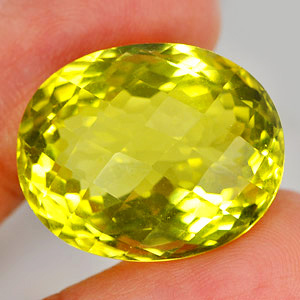 28.94 Ct. Natural Lemon Yellow Quartz Oval Checkerboard Gemstone Unheated
