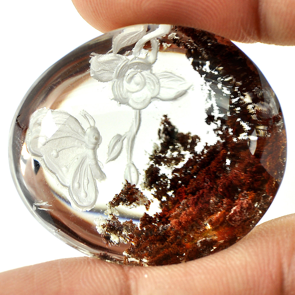 100 Ct. Carving Butterfly Natural Inner Moss Fancy Cabochon Brown White Quartz