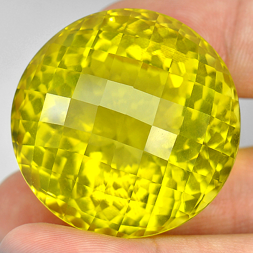 162.43 Ct. Round Checkerboard Cut 34 Mm. Natural Gemstone Yellow Lemon Quartz