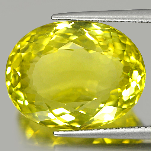19.87 Ct. Oval Shape Natural Gemstone Clean Lemon Yellow Quartz From Brazil